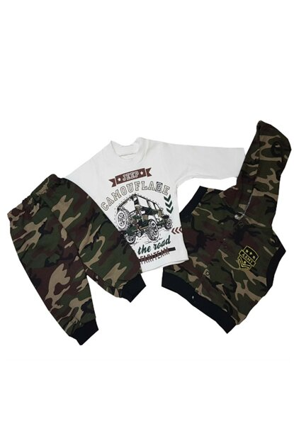 Camouflage 3 Piece Hooded Baby Boy Suit FYZM1586