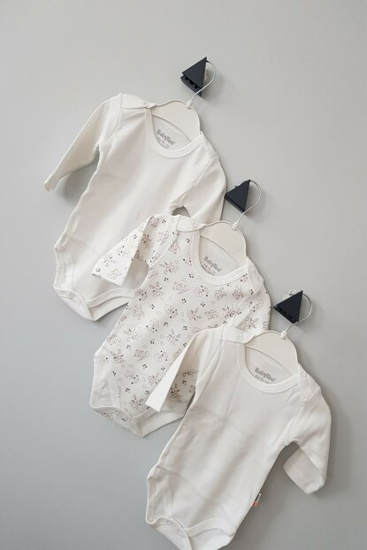 White-Cream Baby Long Sleeve Triple Snaps Body CAN1001