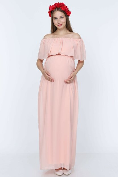 Chiffon Low Shoulder Maternity Dress Powder ML010400X