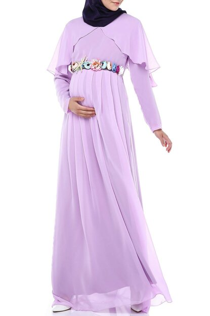 Angel Sleeve Hijab Maternity Dress Lilac ML010300X