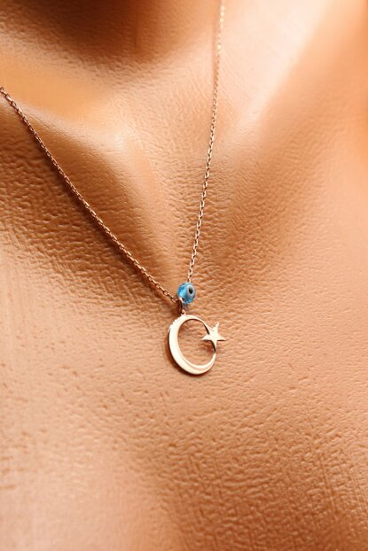 Women's 925 Sterling Silver Rose Lady Evil Eye Beaded Moon Star Necklace AYYLDZ2011-4