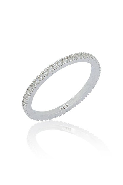 Single Row White Zircon Full Stone Women Silver Ring VKY-2080