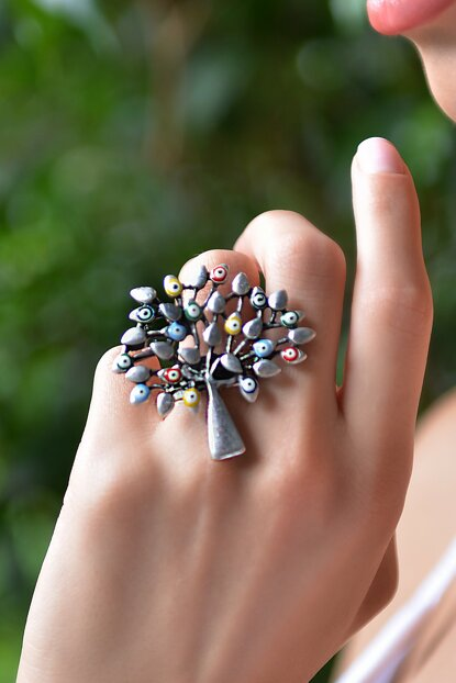 Women's Antique Silver Plated Evil Eye Beaded Ring STY0096