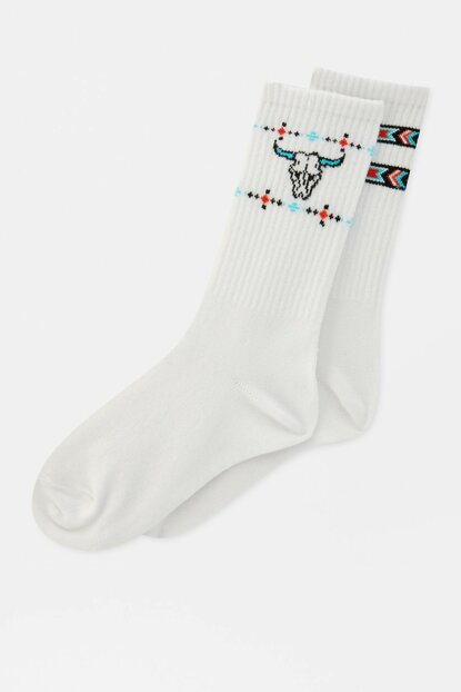 Women's White 2-Piece Skull Printed Sport Socks Pack 09893319