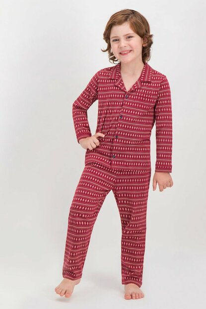 Shine Burgundy Boy Kid Sleepwear Shirt AR-231-C