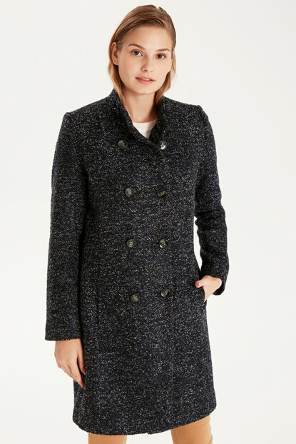 Women's Navy Blue Melange Coat 9W6956Z8
