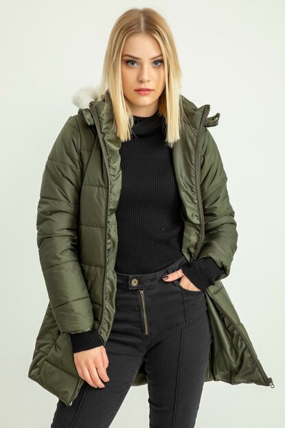 Women's Khaki Down Hooded Long Coat 20K110-001