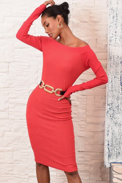 Women's Coral Boat Neck Sweater Dress ALC-X3035