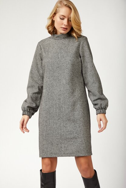 Women's Gray Stand Collar Winter Stamp Dress BL00157