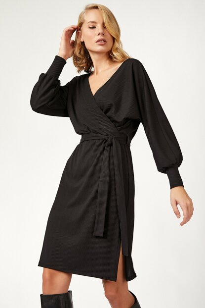 Women's Black Wrap Neck Dress BL00165 BL00165