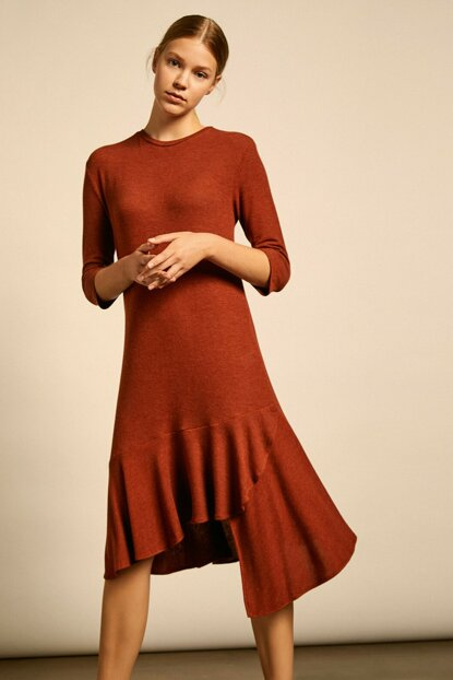 Women Red Bike Neck Long Sleeve Midi Dress 0KAF80924FK