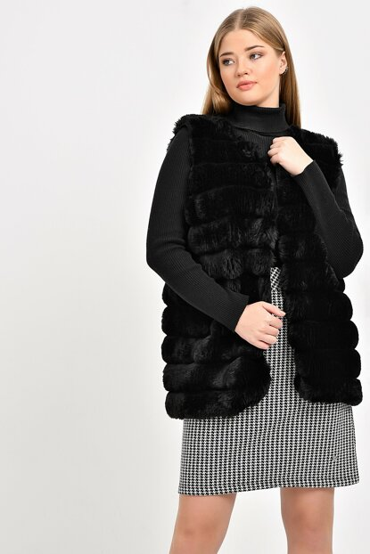 Women Black Slice Stitching Fur Vest TB20KB220846