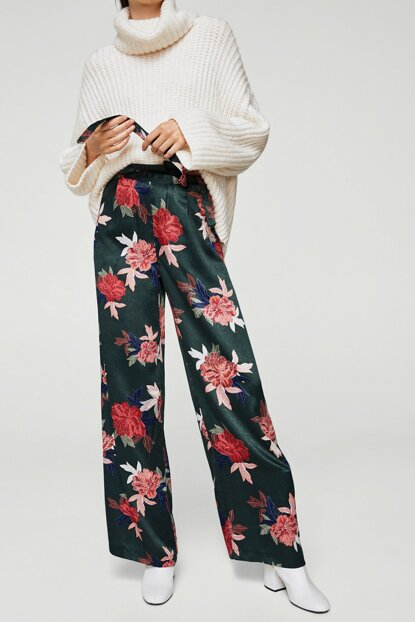 Women's Dark Green Floral Printed Pants 13059702