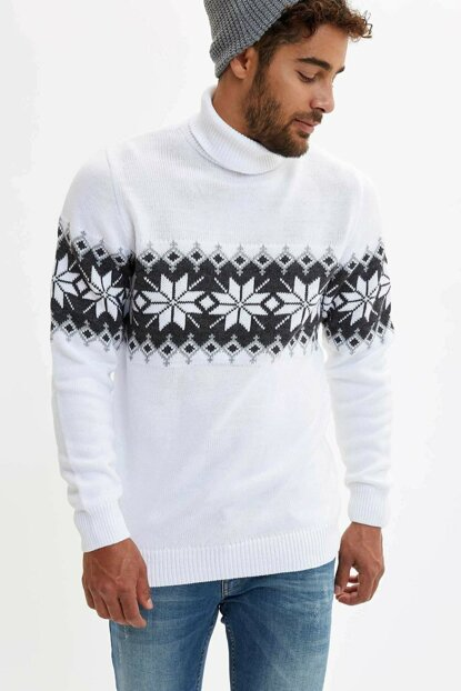 Men's White Turtleneck Regular Fit Pullover L3611AZ.19CW.WT34