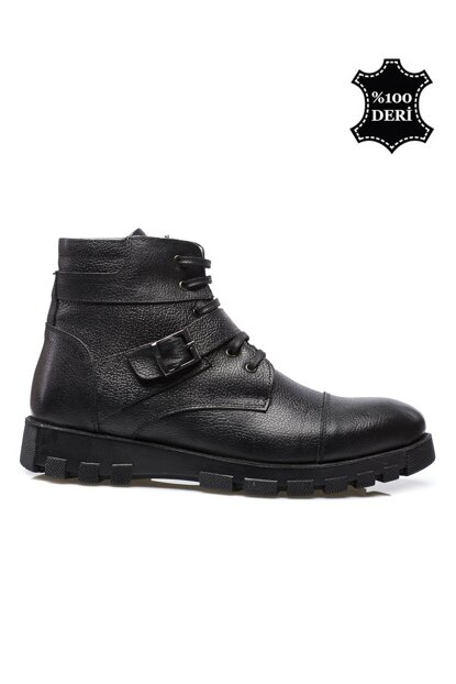 Genuine Leather Black Men Boots PRA-568359-541913