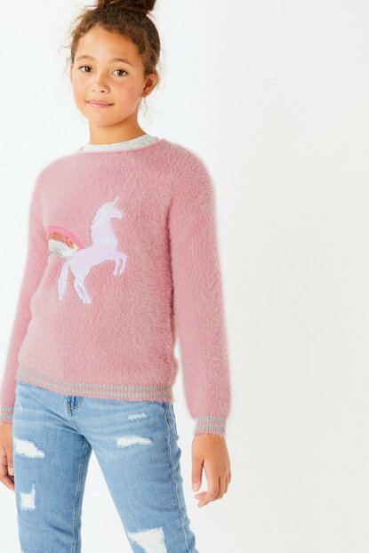 Pink Girl Kid Sequin Unicorn Embroidered Sweater T74009317L