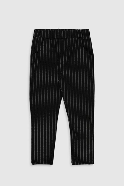 Girl's Black Striped Leg Pants 9WQ230Z4