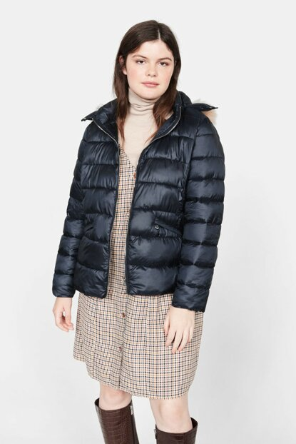 Women's Navy Blue Removable Hooded Coat 53057663