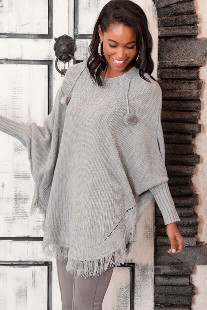 Women's Anthracite Hood Poncho ALC-KRM-1111