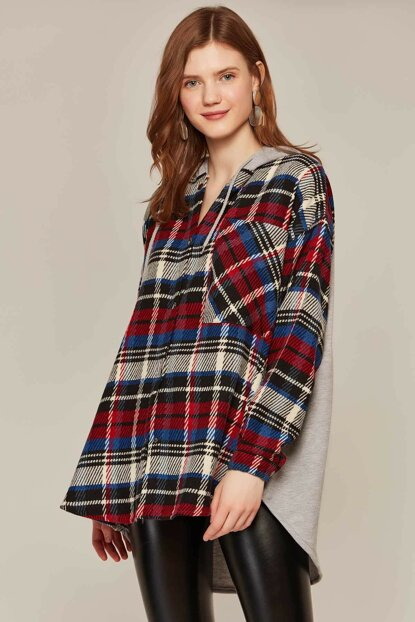 Women's Sax Red Plaid Patterned Hooded Jacket From Back Y19W108-24533