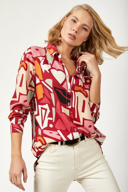 Women's Red Graphic Patterned Viscose Shirt DD00432 DD00432