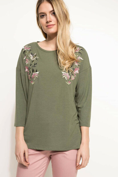 Women's Embroidery Detailed Blouse I4517AZ.18SP.KH210