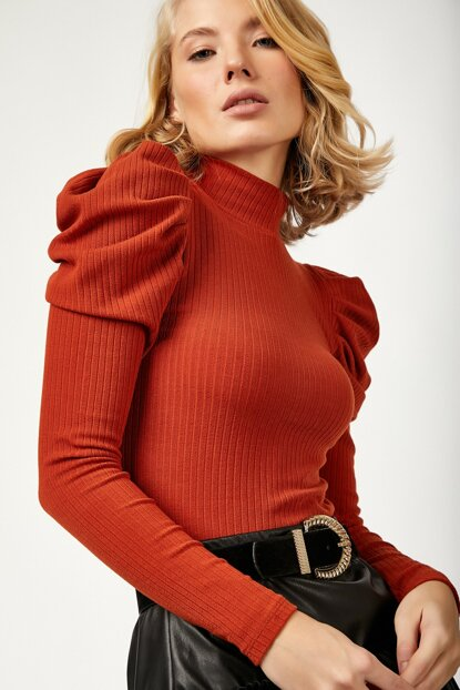 Women Tile Sleeves Ruffle Detail Lycra Cord Knitted Blouse LD00004 LD00004