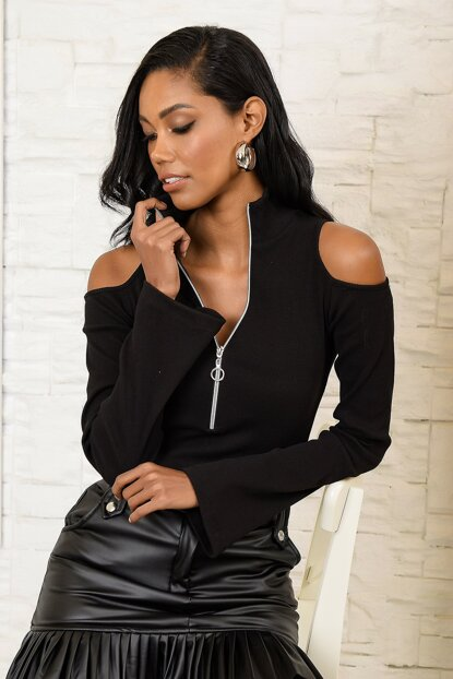Women's Black Shoulder Low-Cut Zip Blouse ALC-X3136