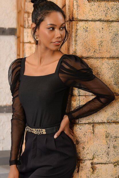 Women's Black Square Neck Sleeves Tulle Blouse DNZ-3090