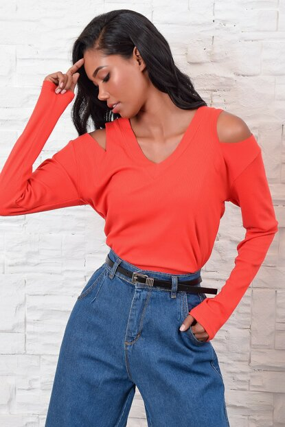 Women's Coral Shoulder Low-cut Blouse ALC-017-187-BF