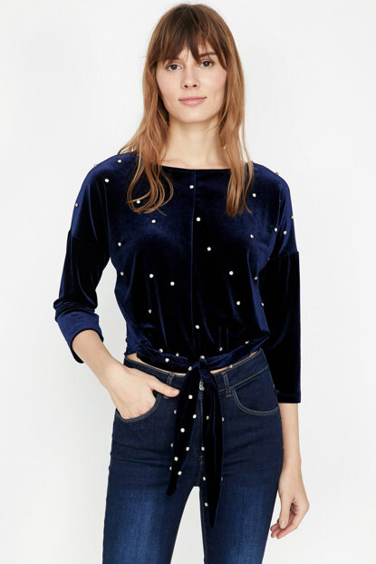 Women's Navy Blue Blouse 9KAK34045FK