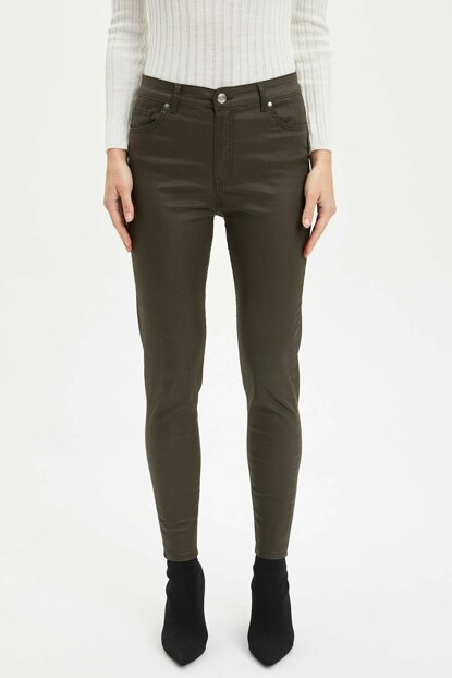 Women's Khaki Slim Fit Woven Trousers M5590AZ.19AU.KH3