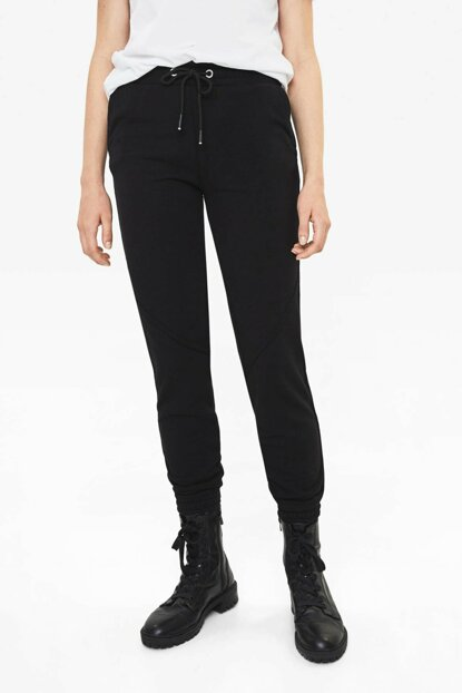 Women's Black Cotton Jogger Pants 05223478