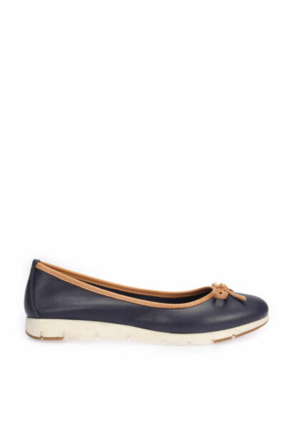 Genuine Leather Navy Blue Women Flats 120130005669