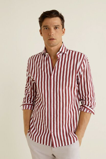 Men's Purple Striped Shirt 33025030