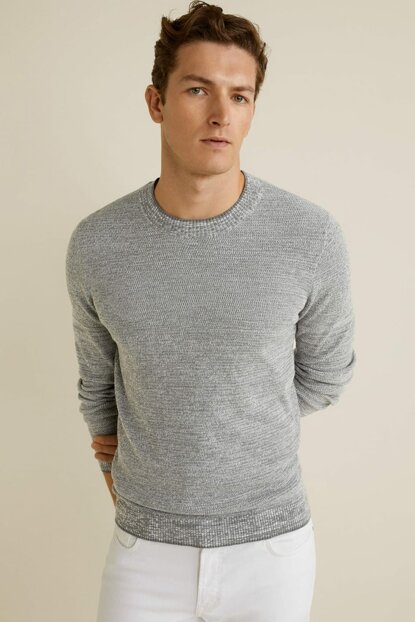Men's Medium Flecked Gray Flecked Sweater 53050497