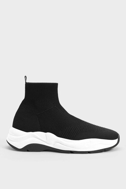 Men's Black Socks Model High Ankle Sneakers 17910132