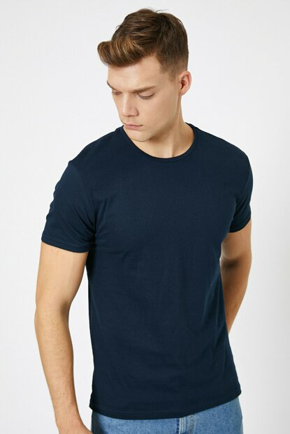 Men's Navy Blue Crew Neck T-Shirt 0YAM12136LK