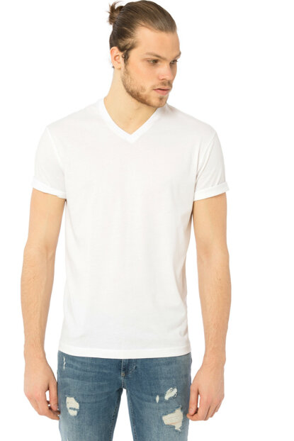 Men's Bright White V Neck T-Shirt 8S0917Z8