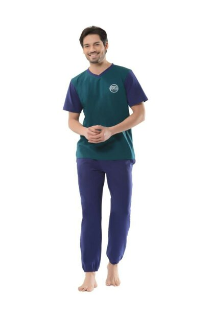 Men's V-neck T-shirt And Long Bottom Pajamas Suit NB18YPJ00059