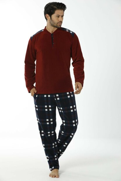 Men's Burgundy Plaid Fleece Jumpsuit Pajamas 14952506