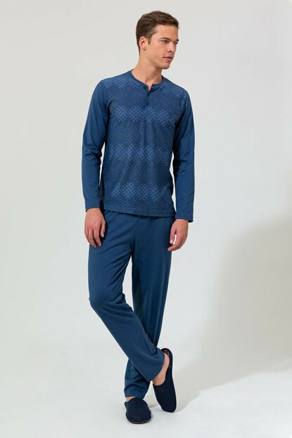 Men's Indigo Jacquard Patterned Six Modal O Patterned Long Sleeve Pajama Set E0219K0014