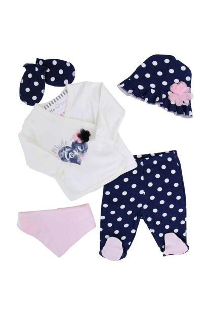 Navy Blue Baby Girl Polka Dot 5'Li Hospital Outlet AF90252