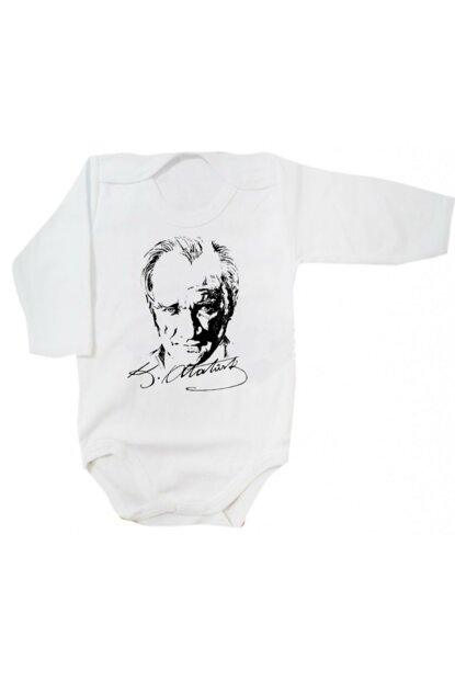 Atatürk Picture Signed Baby Snap Body Zıbın BODYATABEYAZ