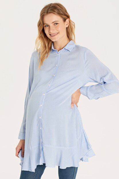Women Blue Striped Len Maternity Clothing Tunic 9WP751Z8