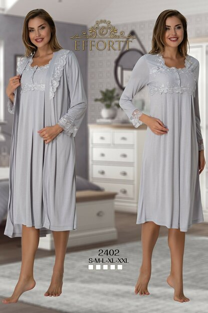 Effortt 2402 Gray Dressing Gown Lohusa Nightdress Set TXB3C9AB9D1474