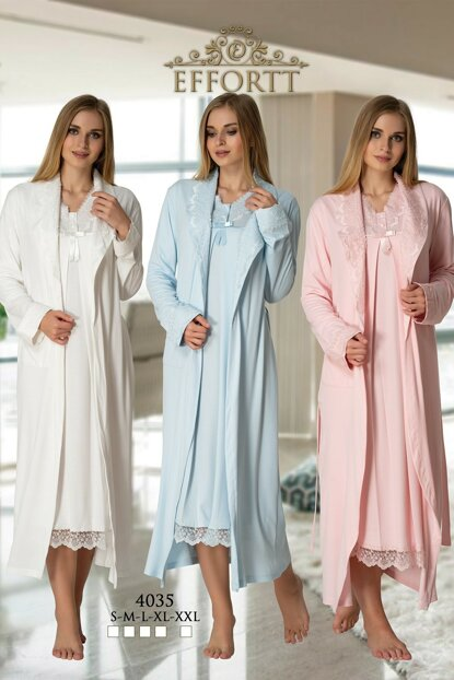 Effortt 4035 Dressing Gown Lohusa Nightwear Set TXB3C9AB9D85
