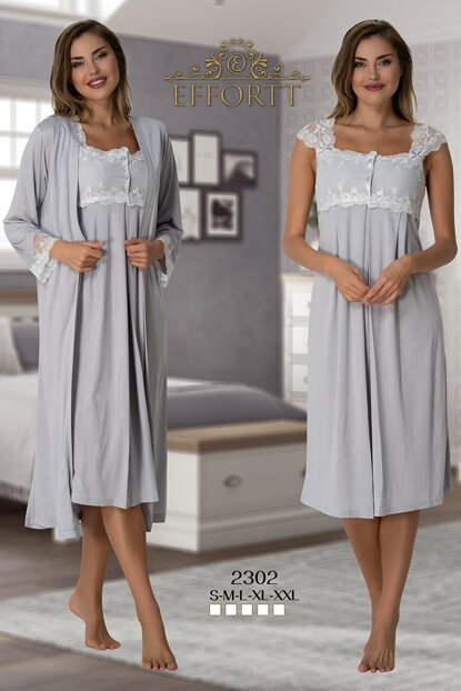 Effortt 2302 Gray Dressing Gown Lohusa Nightdress Set TXB3C9AB9D1469