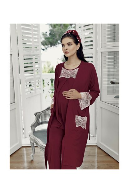 Burgundy Lohusa Dressing Gown Pajamas Set-7302-1 T1336