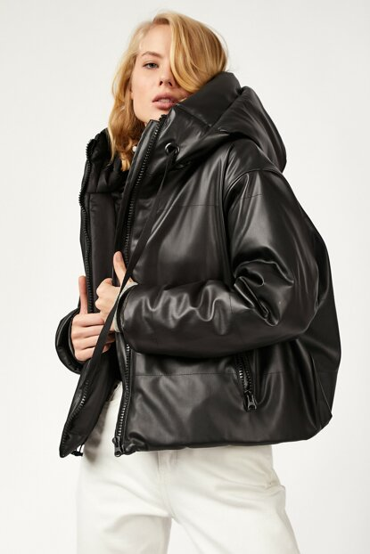 Women's Black Hooded Inflatable Faux Leather Jacket FN01837 FN01837